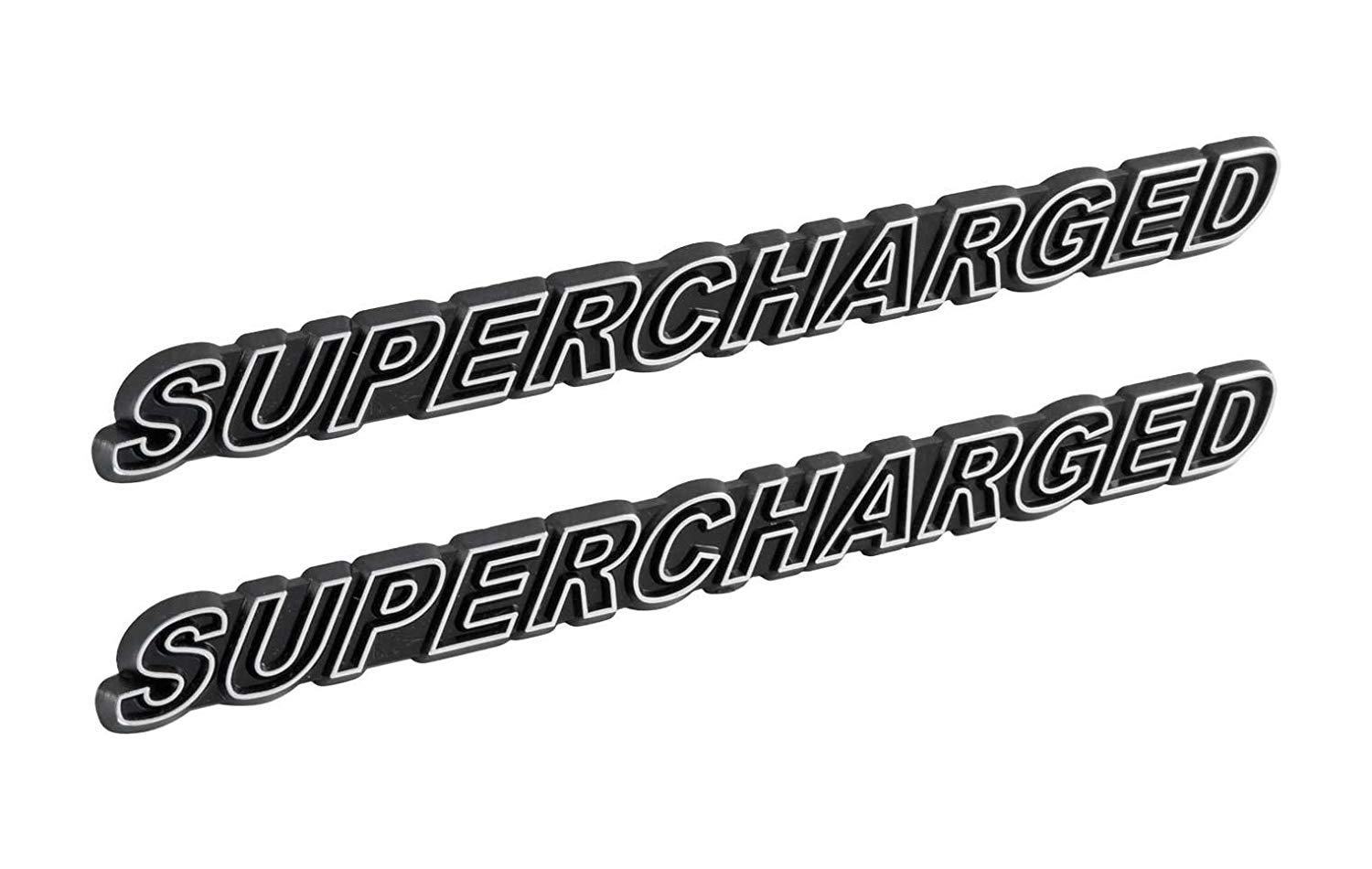 SUPERCHARGED Supercharger Engine Emblems in Chrome /& Black Trim 5.5 Long Pair