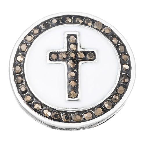 1 Druckknopf Click Button Klick Wechselschmuck Perlen Herz Weiß Strass DIY