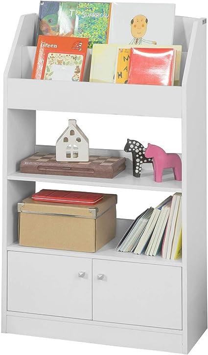 SoBuy KMB11-W Estantería estándar Infantil para Libros,Blanco,H107cm,ES
