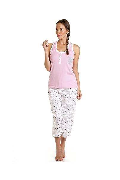 Conjunto de pijama con pantalón pirata - Estampado de lunares - Blanco y rosa 40/