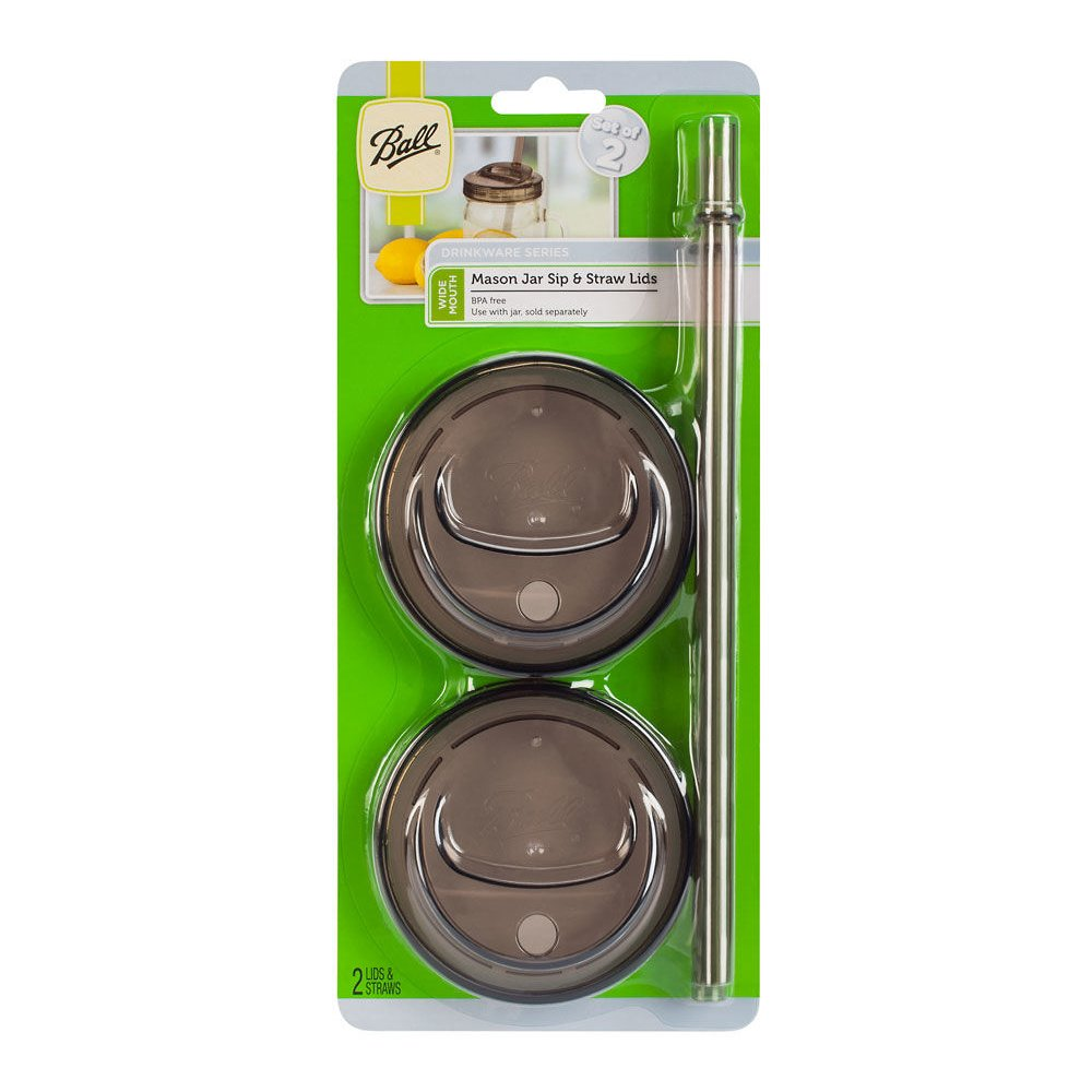 Ball 4-Piece Sip & Straw Lids Set for Wide Mouth Mason Jars | Grey | (2-Lids and 2-Straws)