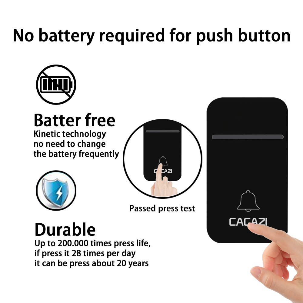 CACAZI Self Powered Wireless Doorbell, No Batteries Required for Remote Button Door Chime, 2 Push Buttons and 2 Plug in Receivers with 38 Chimes, 3 Volume & LED Flash (2 Button + 2 Receiver, Black) by CACAZI (Image #2)