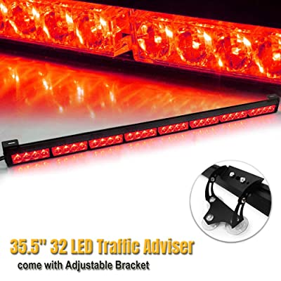 "35.5"" 32 LED 13 Flashing Strobing Modes High Intensity Law Enforcement Traffic Advisor Emergency Hazard Warning Strobe Light Bar Kit for Truck Undercover Vehicle w/Adjustable Large Suction Cup Bracket: Automotive"