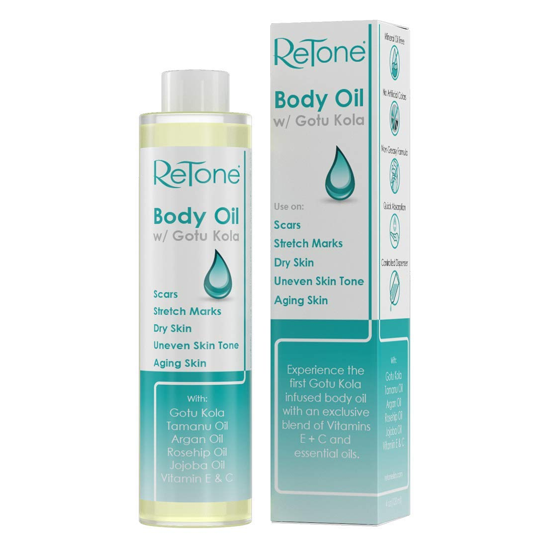 ReTone Body Oil: Stretch Mark Prevention -Non-greasy finish - Infused with Gotu Kola - No mess dispenser - Tamanu oil + Argan Oil + Rosehip Oil + Jojoba Oil + Vitamin E C (dry skin, uneven skin tone) by ReTone