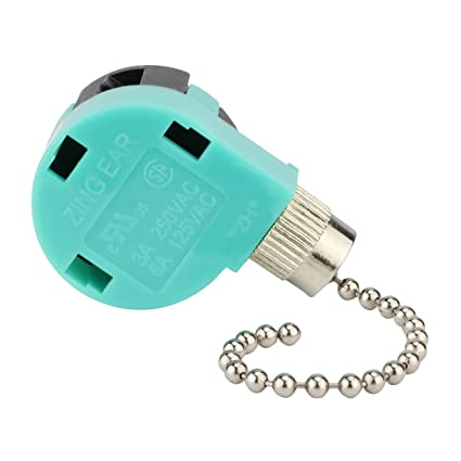 ceiling fan switch 3 speed 4 wire zing ear ze-268s6 pull chain switch  control