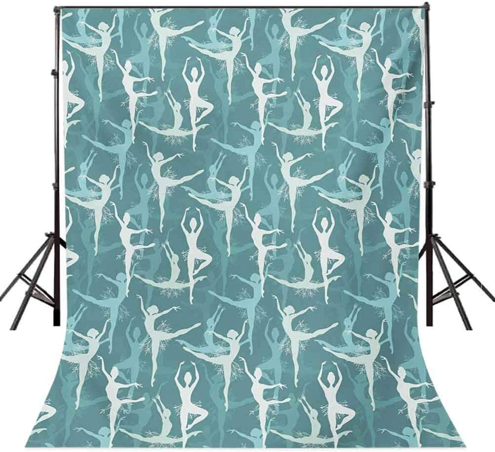 Classic 6.5x10 FT Photography Backdrop Dancing Silhouette of Ballerinas Woman Body Performing Dancers Modern Art Deco Background for Baby Shower Bridal Wedding Studio Photography Pictures Teal Seafo