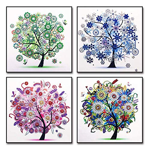 5D DIY Diamond Painting Sets Different Shape Diamond Drawing Tree Cross Stitch Point Drill Painting Living Room Bedroom Wall Decorative Drawing (Four Seasons) (Real Tree Bedroom Set)