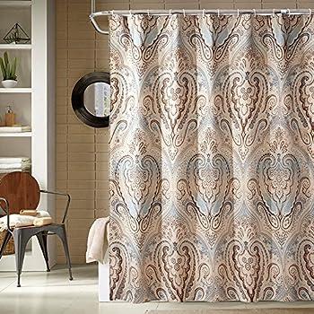 Fabric Shower Curtain Classic Paisley Design Mildew Resistant Waterproof Antibacterial Multicolor Beige Brown
