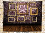 Antique Decor Fleece Throw Blanket Old Styled Interior Wall Decorated with Classic Picture Frames Damask Pattern Throw