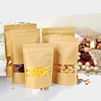 ThreeCat Resealable 100Pcs Kraft Paper Ziplock Sealing Bags Packing Bags with Transparent Window for Tea Coffee Beans Nuts Sead Dried Food