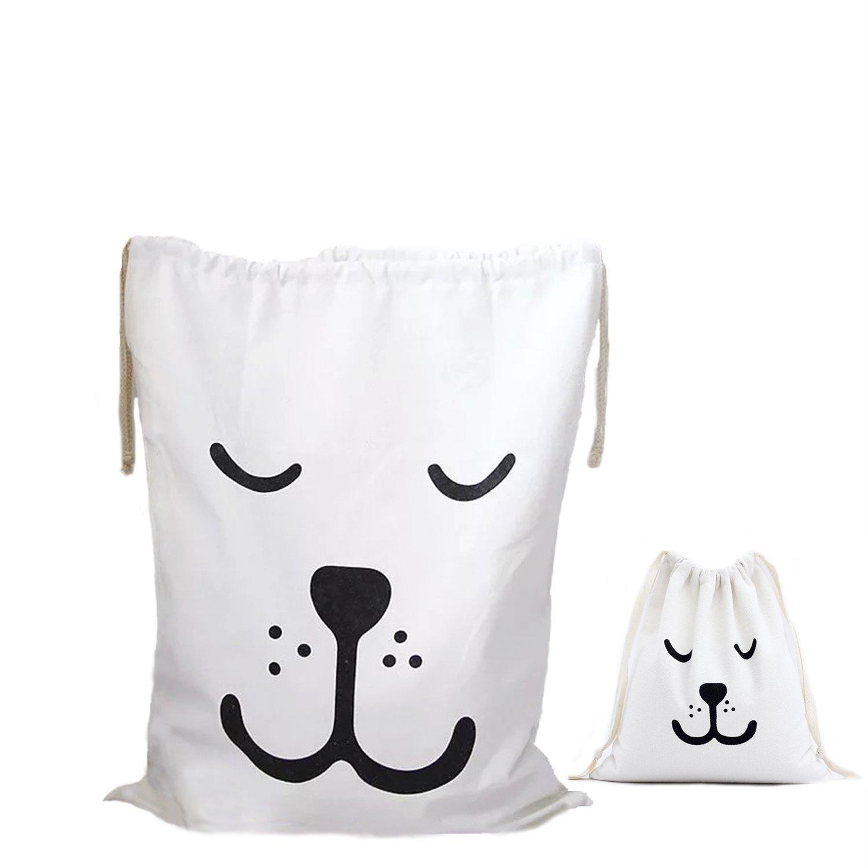 Abaría - 2 unidades bolsa de tela grande - bolsas para ropa sucia de bebé - Juguete bolsa organizadora - bolsa inserto bebé - grande 60 x 44 cm, pequeña 26 x 22 cm Amoyie