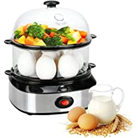 Egg Cooker,WomToy Double Layer Multifunctional Rapid Electric Egg Cooker Steamr for Hard Boiled Eggs,Poached Eggs with 14 Egg Capacity Removable Tray & Auto Shut Off Feature