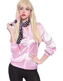 Amazon.com: 50S T-Bird Danny Pink Ladies Satin Jacket ...