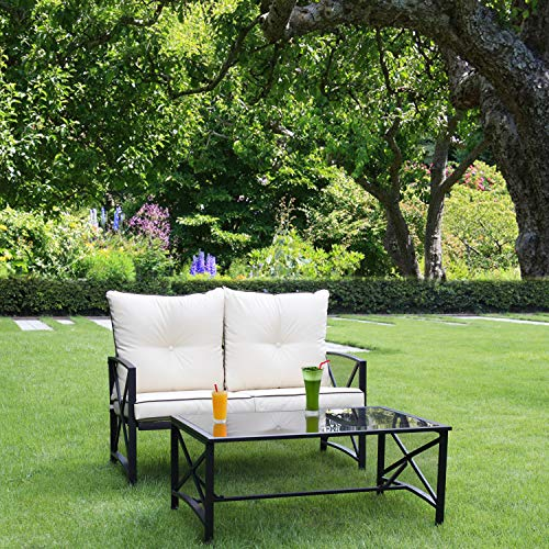 LINLUX 2 Pieces Patio Outdoor Loveseat with Coffee Table, Modern Metal Frame Furniture Sets with Beige Thickened Cushion