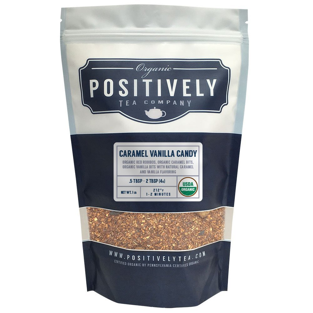 Positively Tea Company, Organic Caramel Vanilla Candy, Rooibos Tea, Loose Leaf, USDA Organic, 1 Pound Bag by Organic Positively Tea Company