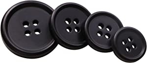 PENTA ANGEL 120Pcs Assorted Size Black Resin Round Buttons Set 4 Holes Flatback Snaps for Sewing Scrapbooking and Craft Ornament (A-120PCS)