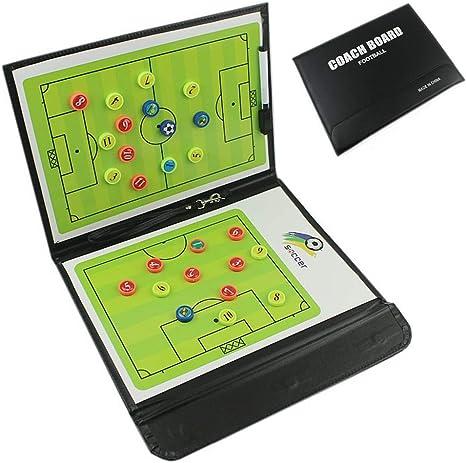CHSEEA Cartella Tattica Magnetica per Allenatore di Calcio Lavagna Calcio Tattica per Organizzazione Giocatori Tattiche e Strategie con Penna Gomma e Magneti #2