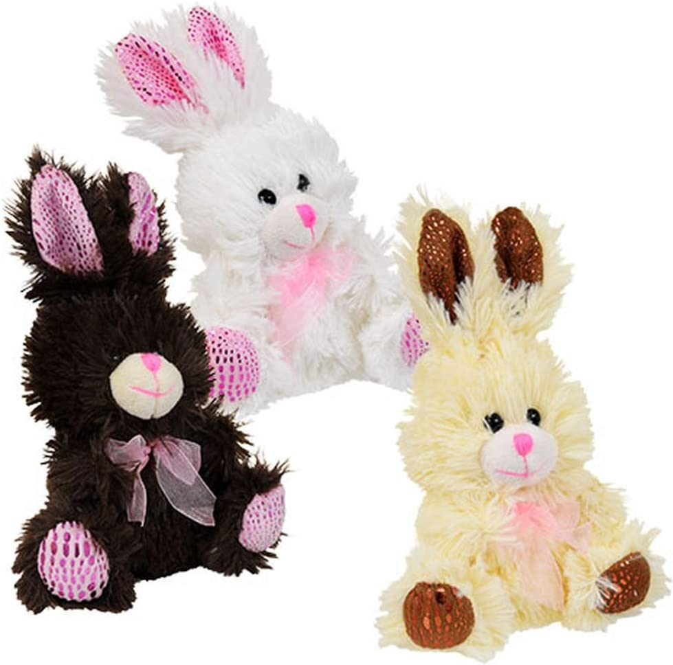 Brown White Chocolate Scented Miniature Easter Bunny Plush Set and Ivory Greenbrier International Inc