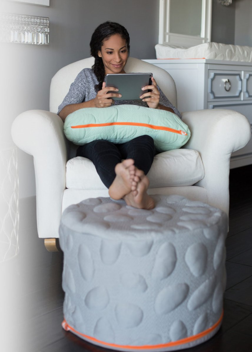 Nook Sleep Systems Pebble Pouf, Soft, Organic, Lightweight Foam Ottoman with Liquid-Resistant Wrap Cover, Misty by Nook Sleep Systems