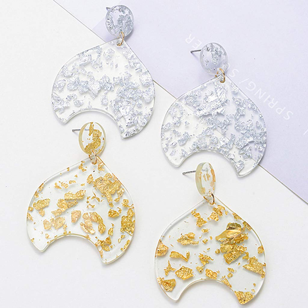 Princegame Acetate Earrings Simple Fish Tail Dangle Jewelry Resin Durable Floral Fashion Vintage Luxury Charms Women Lady Girls Gifts Decoration Acrylic Decor