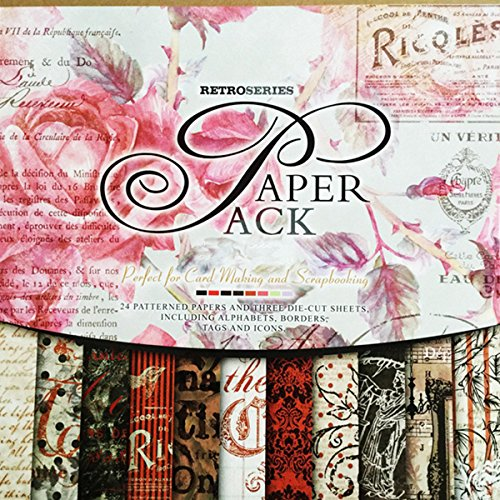 27 Sheets Vintage Scrapbook Paper Pad 12 x 12 Classic Rose Pink Wrapping Book Craft DIY Card Making Damask Art Alphabet/Photo Frame Album Creative Handmade Decorative Die Cuts Background