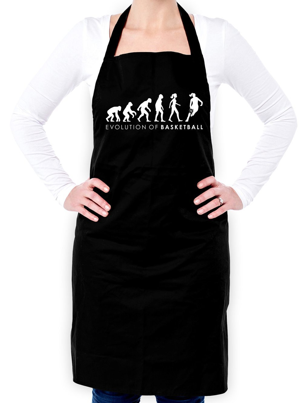 Evolution of Woman - Basketball - Unisex Fit Apron - Black - One Size