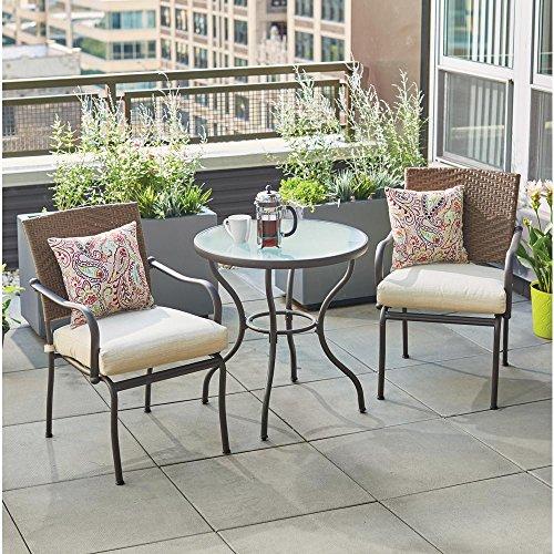 Hampton Bay Pin Oak 3-Piece Wicker Outdoor Bistro Set with Oatmeal Cushions - Hampton Bay Wicker Furniture