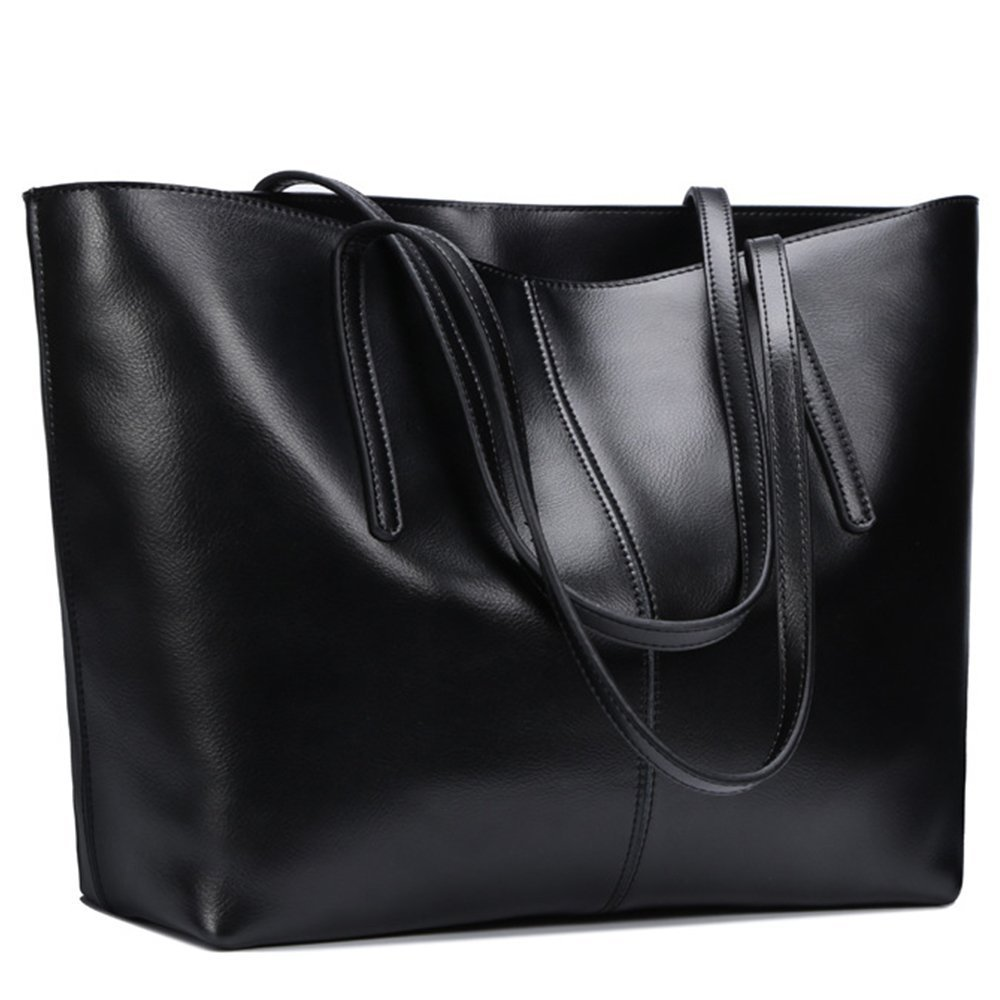 a583b33f11 Ladies Black Leather Tote Bag. February 27