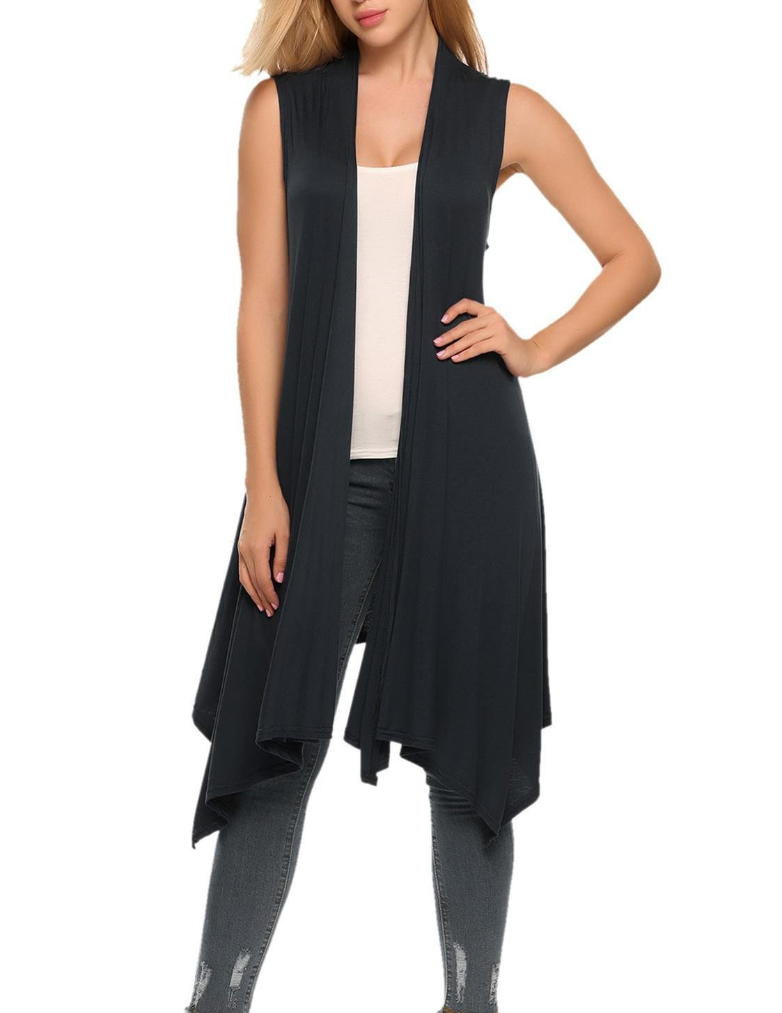 Instom Women's Causal Sleeveless Asymmetric Open Front Draped Cardigan Sweater Vest