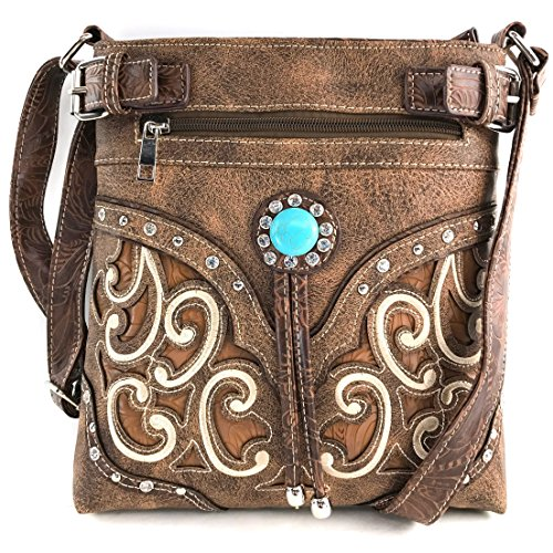 Western Tooled Leather Purse - Justin West Tooled Gleaming Turquoise Stone Floral Laser Cut Rhinestone Messenger Bag Purse with Long Cross Body Strap (Tan Brown)