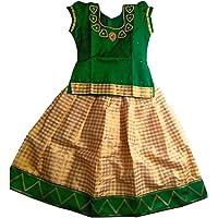 PREX (6 Month Baby Pattu Pavadai PG032, Lehenga Choli, Pattu Langa, and Pattupavada. (Beige + Green)