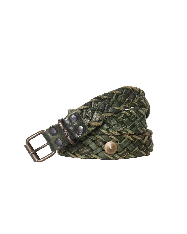 DIESEL - Leather Belt B-TRECCI - green, 85