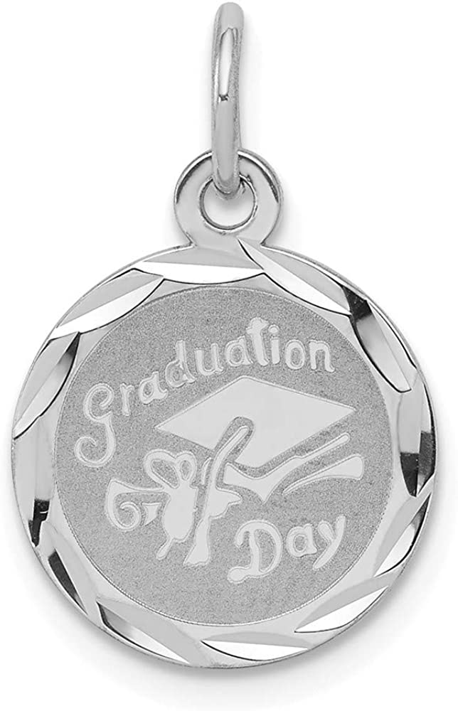 21mm x 13mm Solid 925 Sterling Silver Graduation Day Disc Charm Pendant
