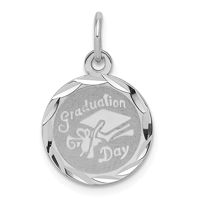Mireval Sterling Silver Anti-Tarnish Treated Graduation Day Disc Charm on an Optional Charm Holder