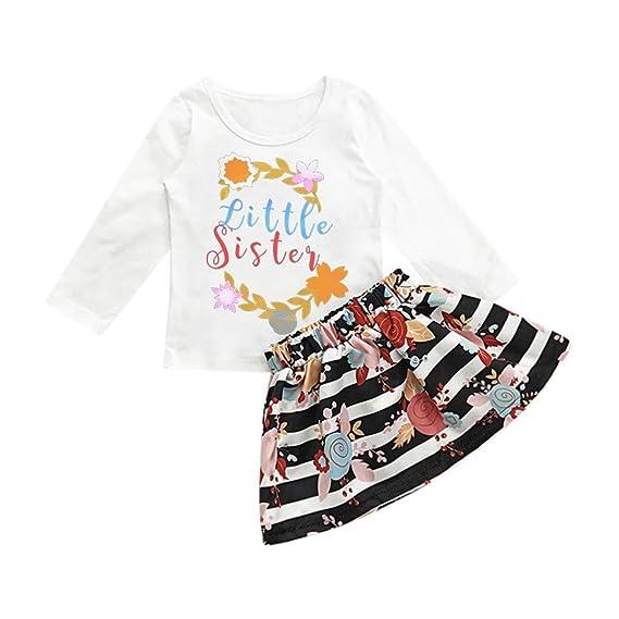 ac23de96f K-youth® Ropa Bebe para 1-5 años Little Sister Carta de los niños Camiseta  + Rayas Florales Conjunto de Falda Vestido de Falda Vestidos Niña Fiesta  2018 ...