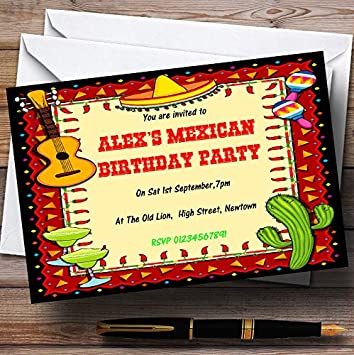 mexican fiesta theme personalized birthday party invitations - Mexican Party Invitations