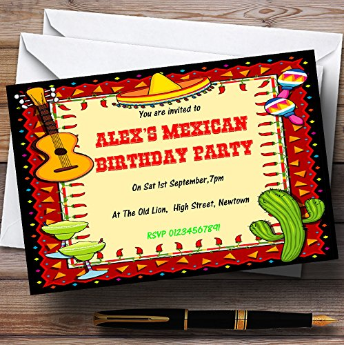 Mexican Fiesta Theme Personalized Birthday Party Invitations
