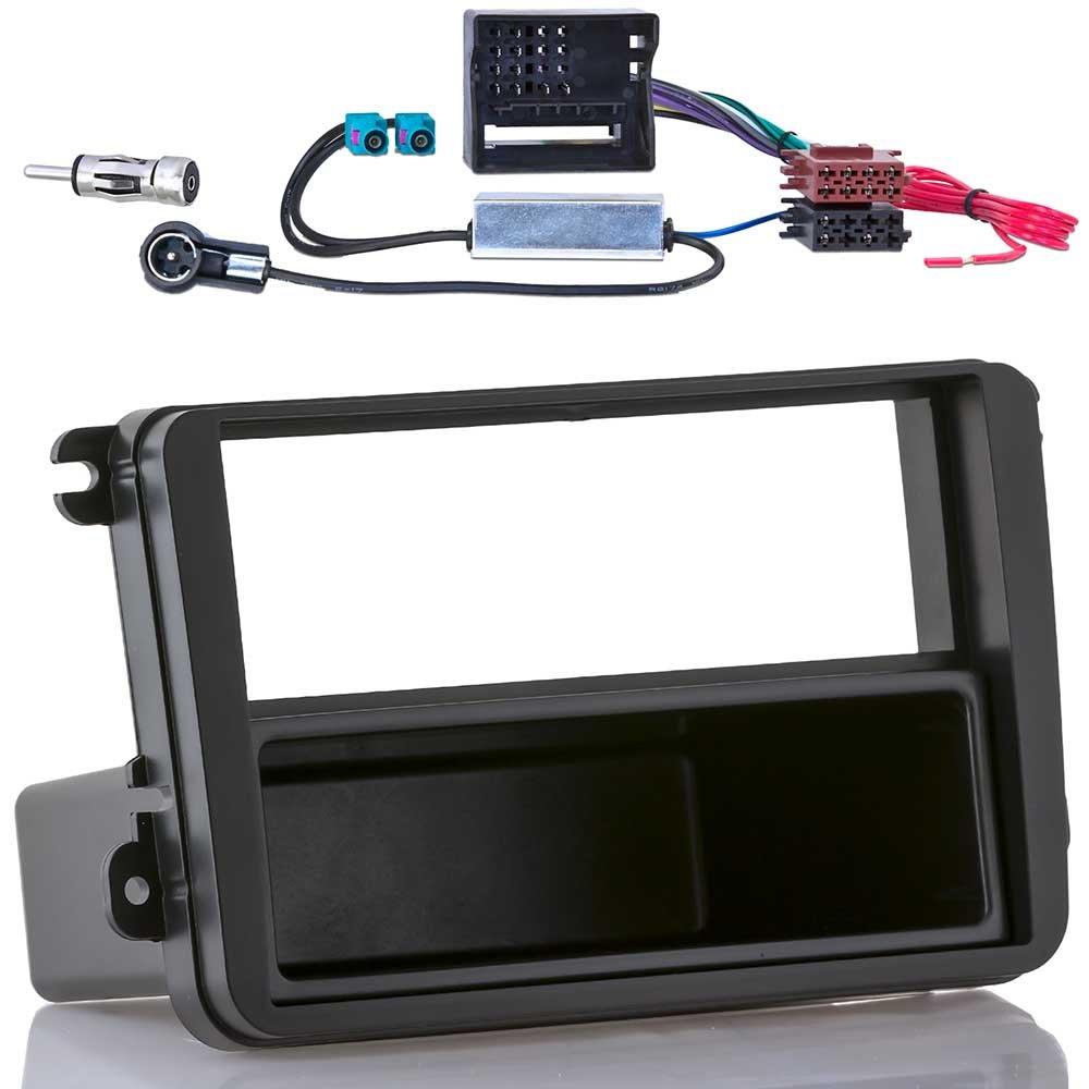 meins24 ohg 17215102 Bo/îtier Encastrable Compatible Cache Frontal Pour Autoradio Adaptateur Pour Format Din Iso Adaptateur Fant/ôme Pour Autoradio Double Fakra