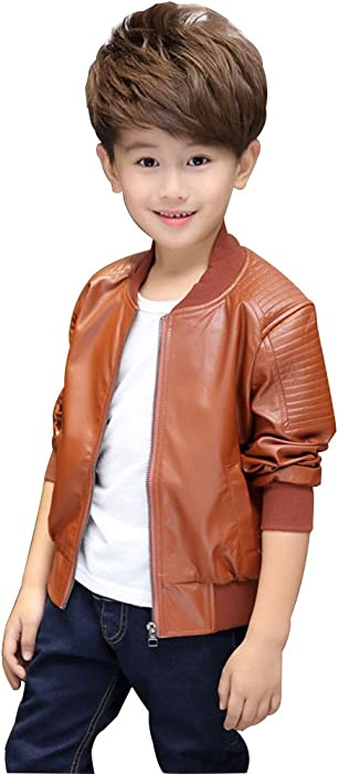 63db296a120ea  JDLXMD 子供服 男の子 アウター 春秋キッズ 暖かいジャケット オートバイの革PUコート