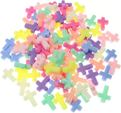 100pcs Color Mixed Cross Wood Beads Spacer Beads for DIY Jewelry Bracelet Necklace Making