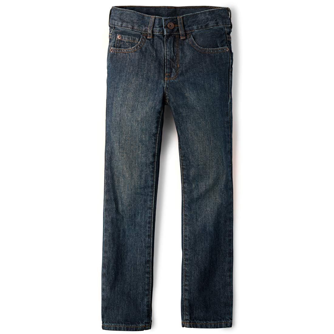 The Children's Place Big Boys' Straight Leg Jeans, Dry Indigo,8