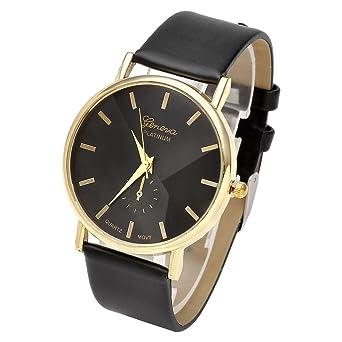 Damenuhren schwarz gold  JSDDE Uhren,Eelgant Genf Damen Herren Armbanduhr Lederarmband ...