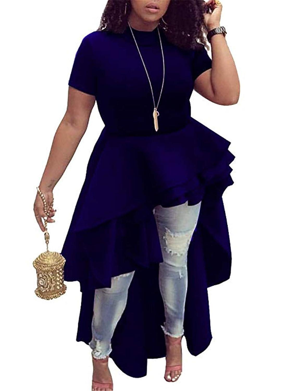 bluee Fashion Cluster Women's Short Sleeve Floucing Shirt Party Club Runway High Low Peplum Top Dress