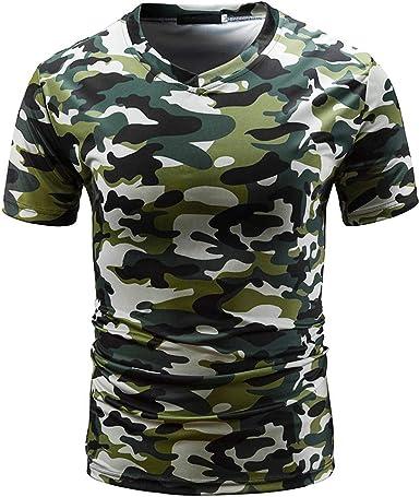 Overdose Camuflaje Casual para Hombres Estampado O Cuello Pullover Camiseta Corta Top Blusa Originales Baratas Camisa Deportiva Suelto: Amazon.es: Ropa y accesorios