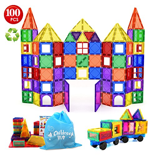 Children Hub 100pcs Magnetic Tiles Set – Building Construction Toys For Kids – Upgraded Version