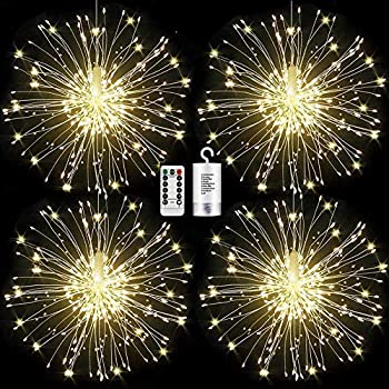 4 Pack 120 led Firework Lights Copper Wire Starburst String Lights 8 Modes Battery Operated Fairy Lights with Remote,Christmas Decorative Hanging Lights for Party Patio Bedroom Christmas Decoration