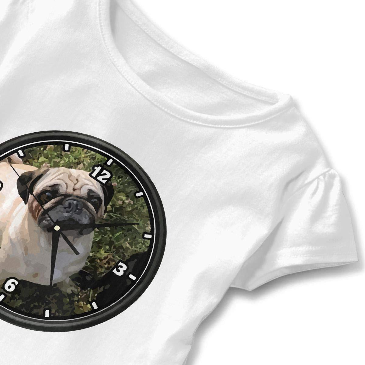 Pug FACE Wall Clock Cute Short Sleeve Clothes for Boy Girl Dress Cotton T-Shirt Unique Bodysuit Romper,One-Piece Jumpsuit