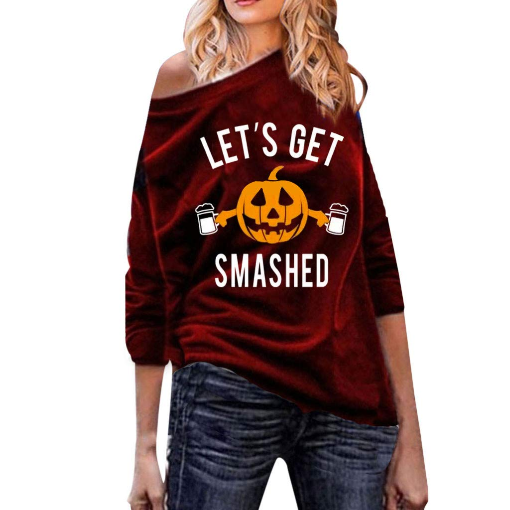 SHUSUEN Women's Crew Neck Long Sleeve Oversized Pullover Sweater Halloween Pumpkin Print Jumper Loose Fit Tunics Wine by SHUSUEN