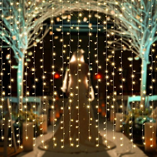 Solar Powered Curtain Icicle Lights, AGPtEK 3Mx3M 8 Modes Fairy String Lights for Christmas ...