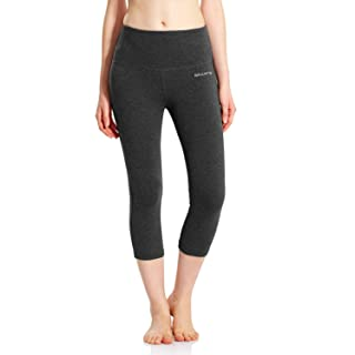 BALEAF Women's High Waisted Yoga Capri Leggings Tummy Control Non See-Through Fabric Charcoal Size L